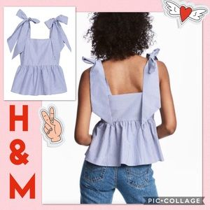 H&M Blue Pinstripe Flounced Top with Tie Straps